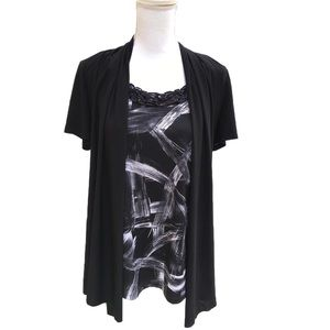 Perseption Concept Casual Black White Top Size XL